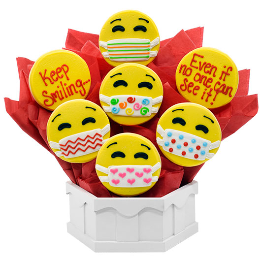 Keep Smiling Emojis Cookie Bouquet